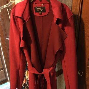 Red faux suede trench